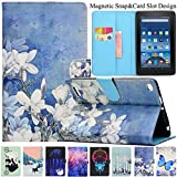 Kindle Fire HD 7 2015 Case,Artyond PU Leather [Card Slot] Smart Magnetic Cover Soft TPU Interior Protective Case for Amazon Kindle Fire HD7 5th Generation,2015 Release (Bloom)