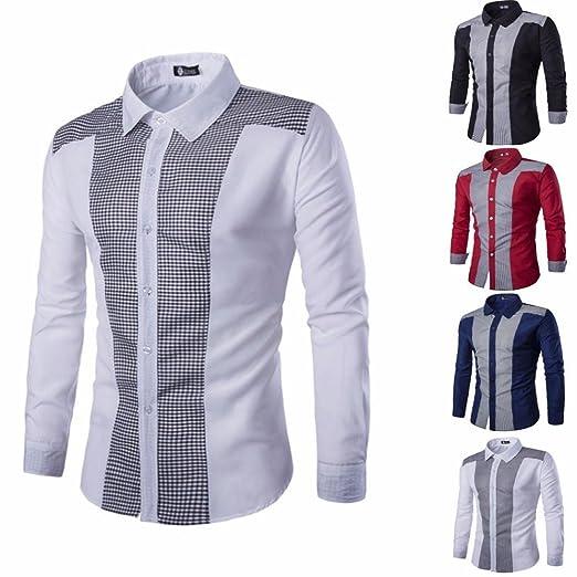 JiaMeng Hombre Camisas de Vestido Formal Moda Manga Larga Trajes Ocasionales Formales Oxford Camisas de Vestir Slim Fit tee: Amazon.es: Ropa y accesorios