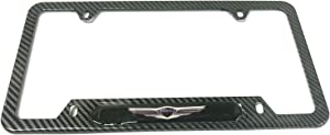 Mesport Carbon Fiber Style Stainless Steel Rust Free Genesis License Plate Cover Frames Holder with Screw Caps for Hyunda Genesisi (1)