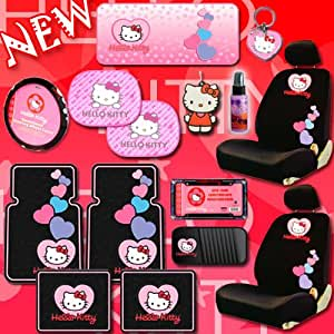 NEW Hello Kitty Heart Design Car Accessories Combo Set with 2 Low Back Seat Covers Steering Wheel Cover Front and Rear Floor Mats CD Organizer Large Sunshade Key-chain License Plate Frame 2 Hello Kitty Air Freshener 2 Window Side Shades and 2oz Purple Slice Combo Set