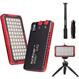 Iwata Pro 144 LED Bi-Color Dimmable On-Camera Led Video Light, OLED Screen, CRI97 TLCI99 Accurate Color, 2600-6000K Adjustable, 7500lux@0.3M High Brightness, Aluminum Body with PERGEAR Tripod