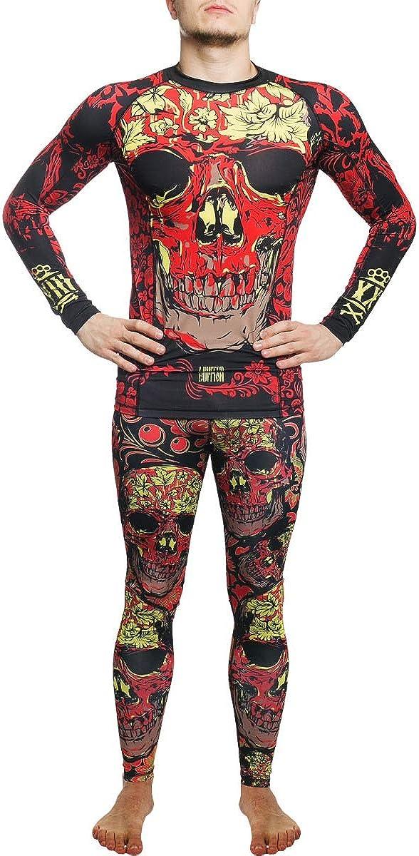 Hardcore Training Skull Folk Compression Pants Herren Sportkleidung Kompressionshose Grappling MMA Jiu Jitsu