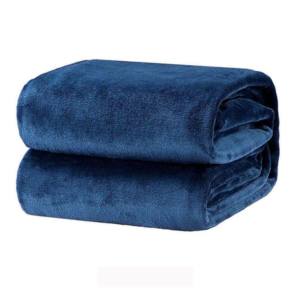 Bedsureフランネルの高級毛布ネイビーツインサイズ軽量居心地の良い豪華なマイクロファイバー固体毛布 (色 : 青, サイズ さいず : 200cmx230cm) B07QRW1W7Y 青 200cmx230cm