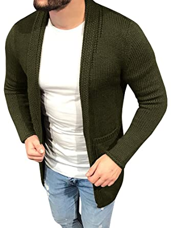 64f5ceeb29d94a PASLTER Men s Slim Fit Open Front Knit Sweater Cardigan Coat Jacket at  Amazon Men s Clothing store