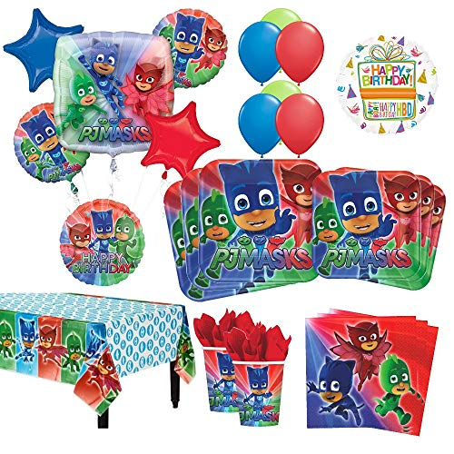 Mayflower Products PJ Masks Birthday Party Supplies 8 Guest Kit and Balloon Bouquet Decorations 54 - Kit Party 8 Guest