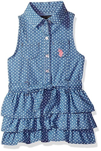 U.S. Polo Assn. Girls' Toddler Casual Dress, Collared with Pink pop Blue wash 3T