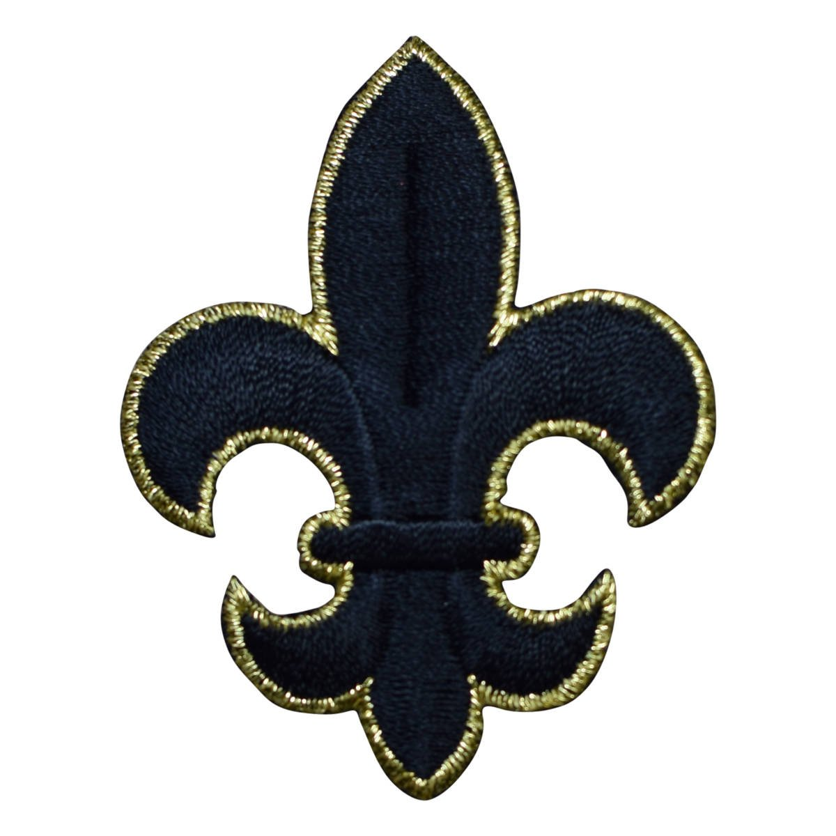 Iron on Large Black and Gold Fleur De Lis Cross Applique Patch