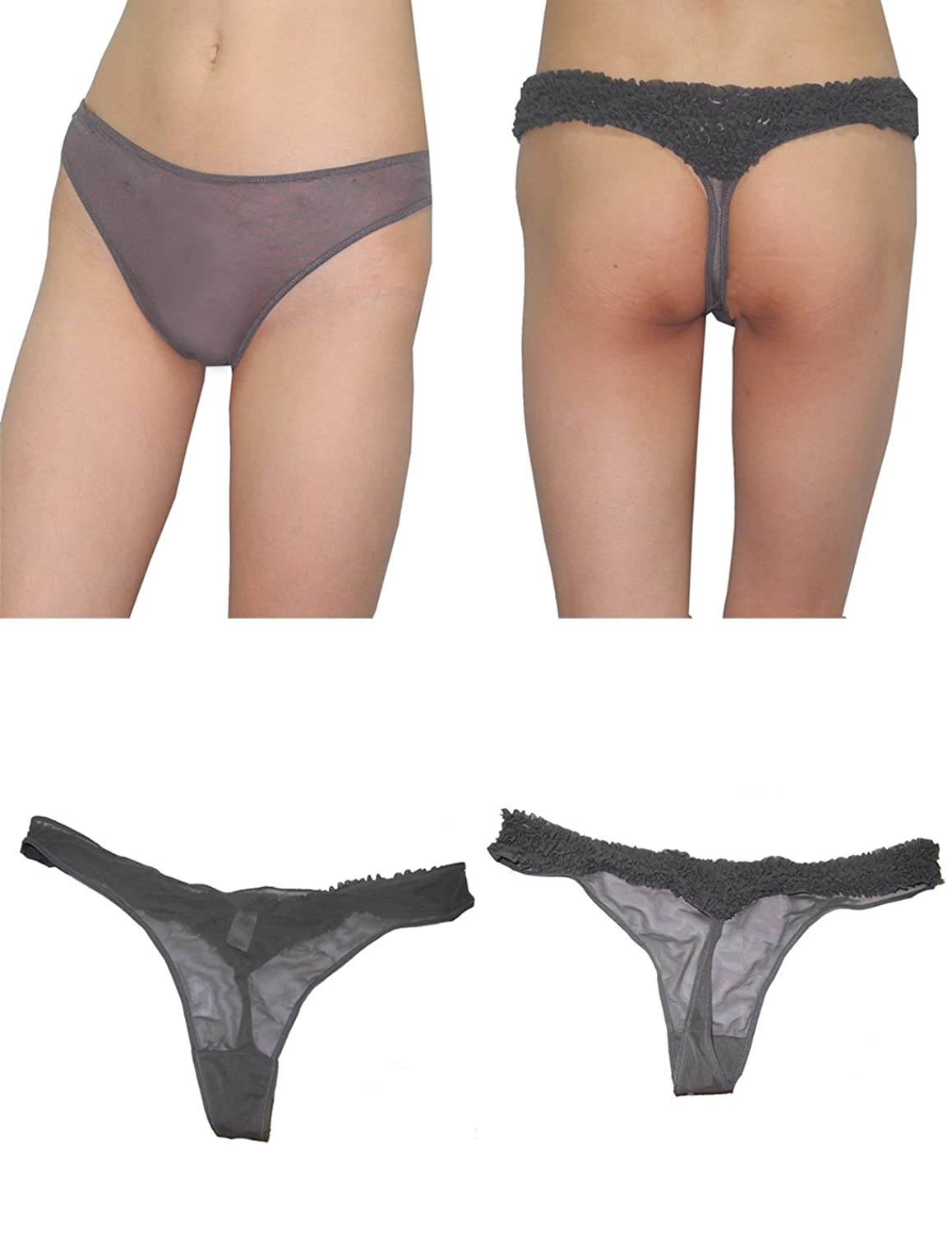 (Pack of 4) Womens Sexy Stretch Hipster Brief Thong Panties