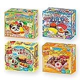 Ninjapo Wrapping Kracie Japanese DIY Candy ''Popin Cookin & Happy Kitchen'' E set: Assortment of Bento, Sushi, Taiyaki & Odango, Doughnut (total 4)