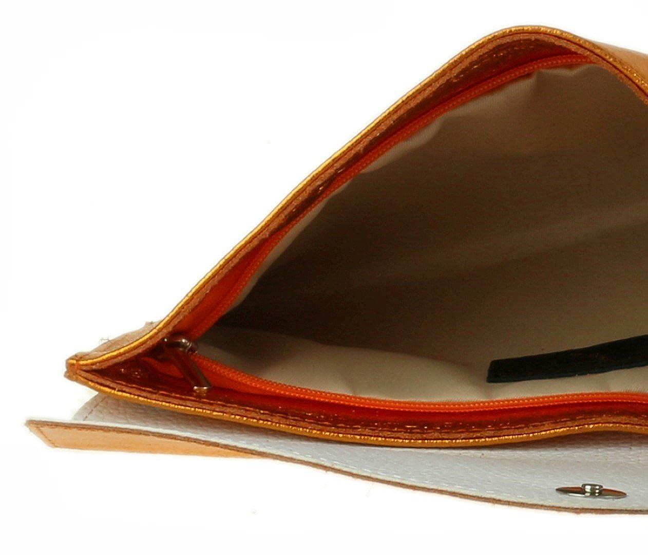 Girly HandBags Genuine Leather Italian Metallic Envelope Clutch Bag