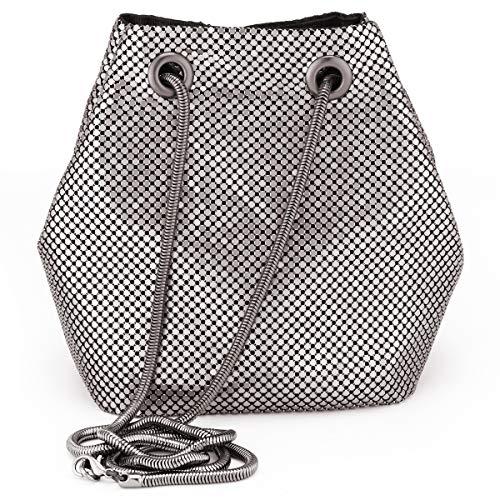 Evening Handbags Clutch Purses for Women Metal mesh Chain Mail Soft Bucket Bag Shoulder Bags in Grey (Handbag Mesh Purse)