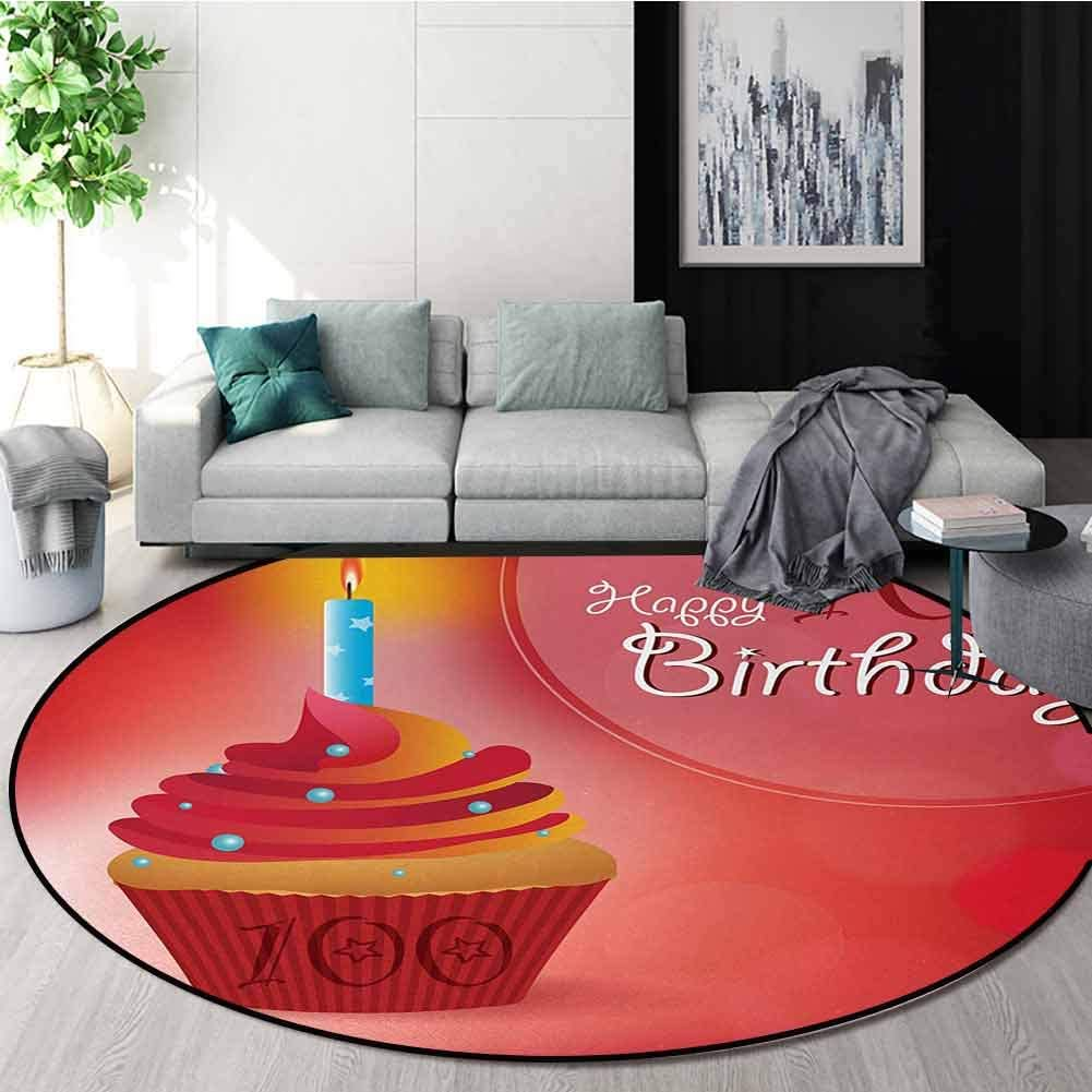100Th Birthday Modern Machine Round Bath Mat,100 Years Party Cupcake With Candle Abstract Vivid Colored Backdrop Non-Slip No-Shedding Kitchen Soft Floor Mat Diameter-71 Inch,Pink Red And Orange 61I2%2BDsSJEL