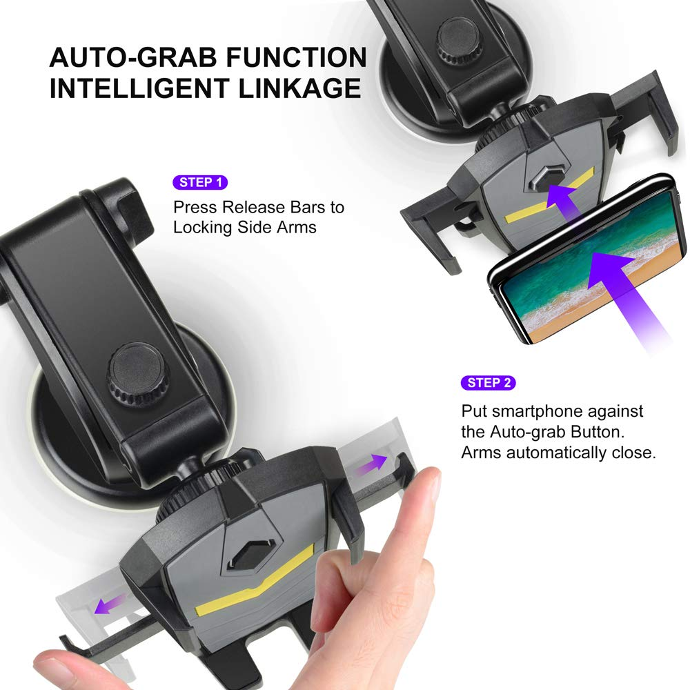 Samsung Galaxy Note 9 S9 LEEIOO Car Phone Mount etc. Auto-Grab Function 3 in 1 Dashboard Windshield /& Air Vent 360/° Rotating Mobile Car Holder Compatible with iPhone 6 7 8 8 Plus X XS Max