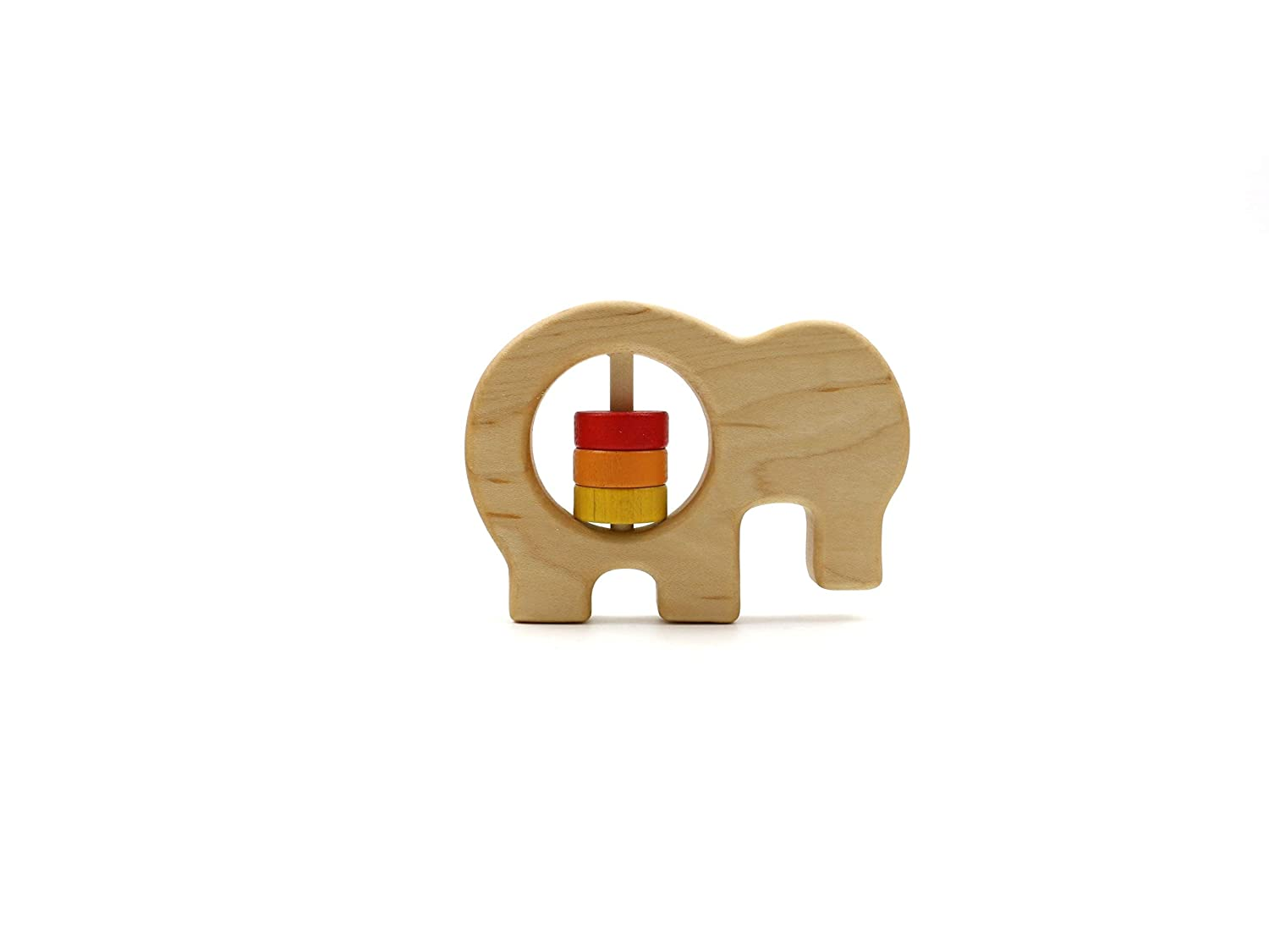 Elephant Wooden Baby Rattle