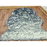 faux fur single sheepskin style rug Non-Slip 60 x 100 cm (Twilight) by Unknown