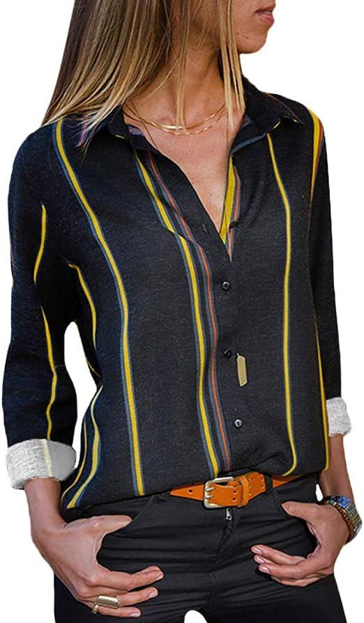 RENJIANFENG Blusas para Mujer Bloque De Rayas De Color Cuello En V ...