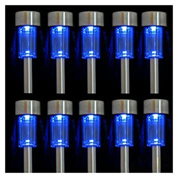 Amazon iperb 10pcs blue led outdoor steel garden solar iperb 10pcs blue led outdoor steel garden solar powered landscape light lamp mozeypictures Image collections
