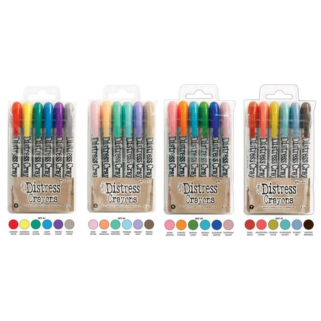 Ranger Tim Holtz Distress Crayons Bundle: Sets 4, 5, 6, 7 by Tim Holtz Distress