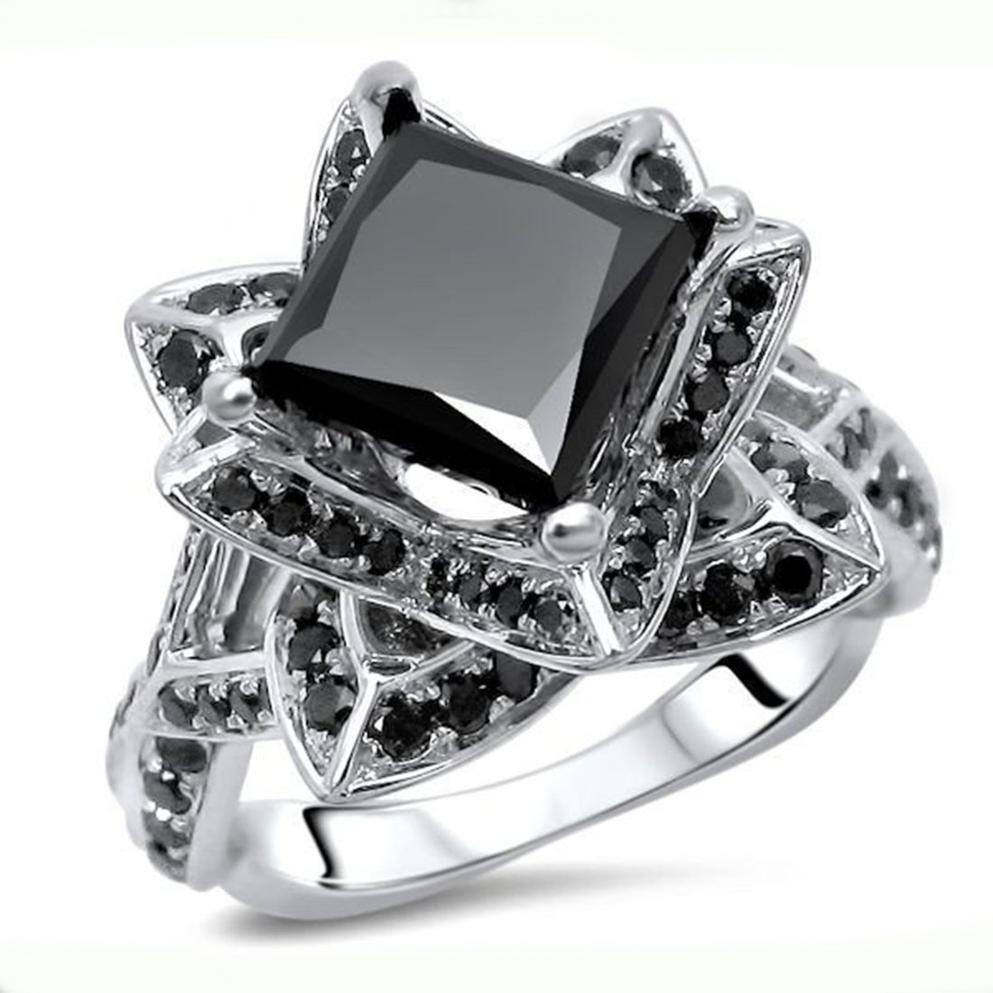 Smjewels 2.55 Ct Black Princess Cut Sim.Diamond Lotus Flower Engagement Ring 14K White Gold Fn