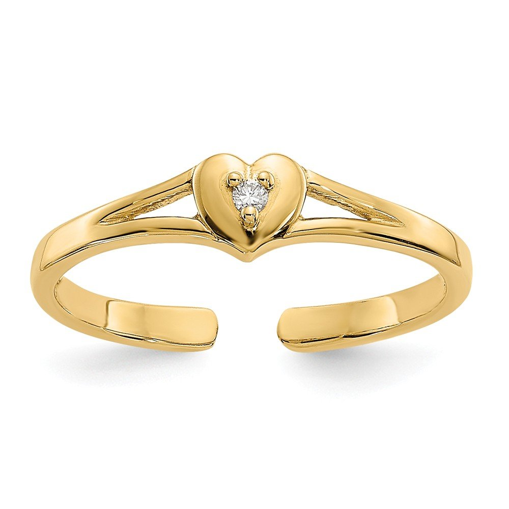 14K Solid Yellow Gold (0.01cttw) .01Ct Diamond Heart Love Toe Ring Size-