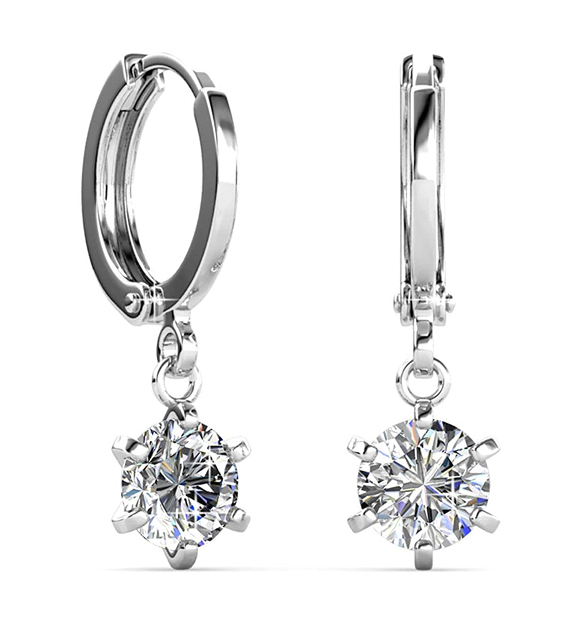 exquisite craftsmanship buy popular elegant and graceful Jade Marie Deserving Silver Drop Hoop Earrings, 18k White Gold Plated  Solitaire Dangle Earrings with Swarovski Crystals, Beautiful Sparkling Hoops