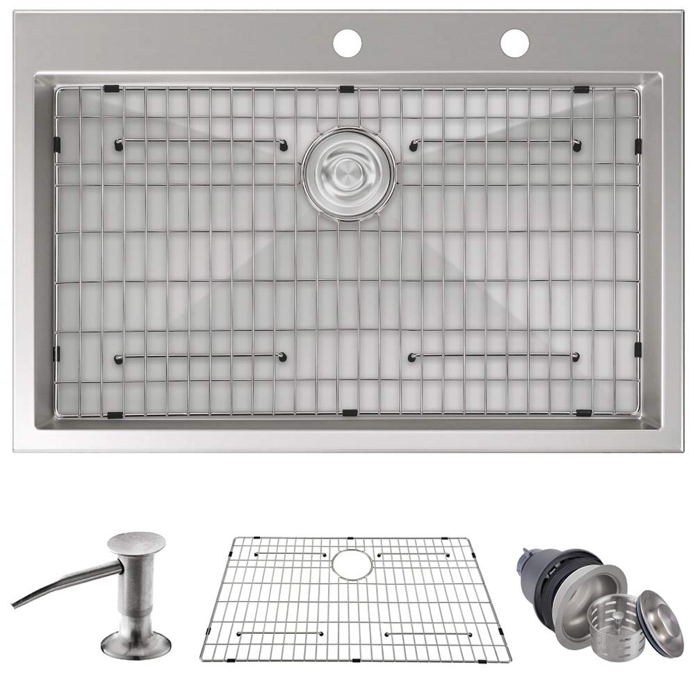 MOWA HTS3322 Pro Series Handmade 33'' 16 Gauge Stainless Steel Topmount Drop-in Kitchen Sink - Upgraded Perfect Drainage, 9-Gauge Thick Rim & Deep Basin Sink w/Soap Dispenser, 3PC Drain Set, Sink Grid