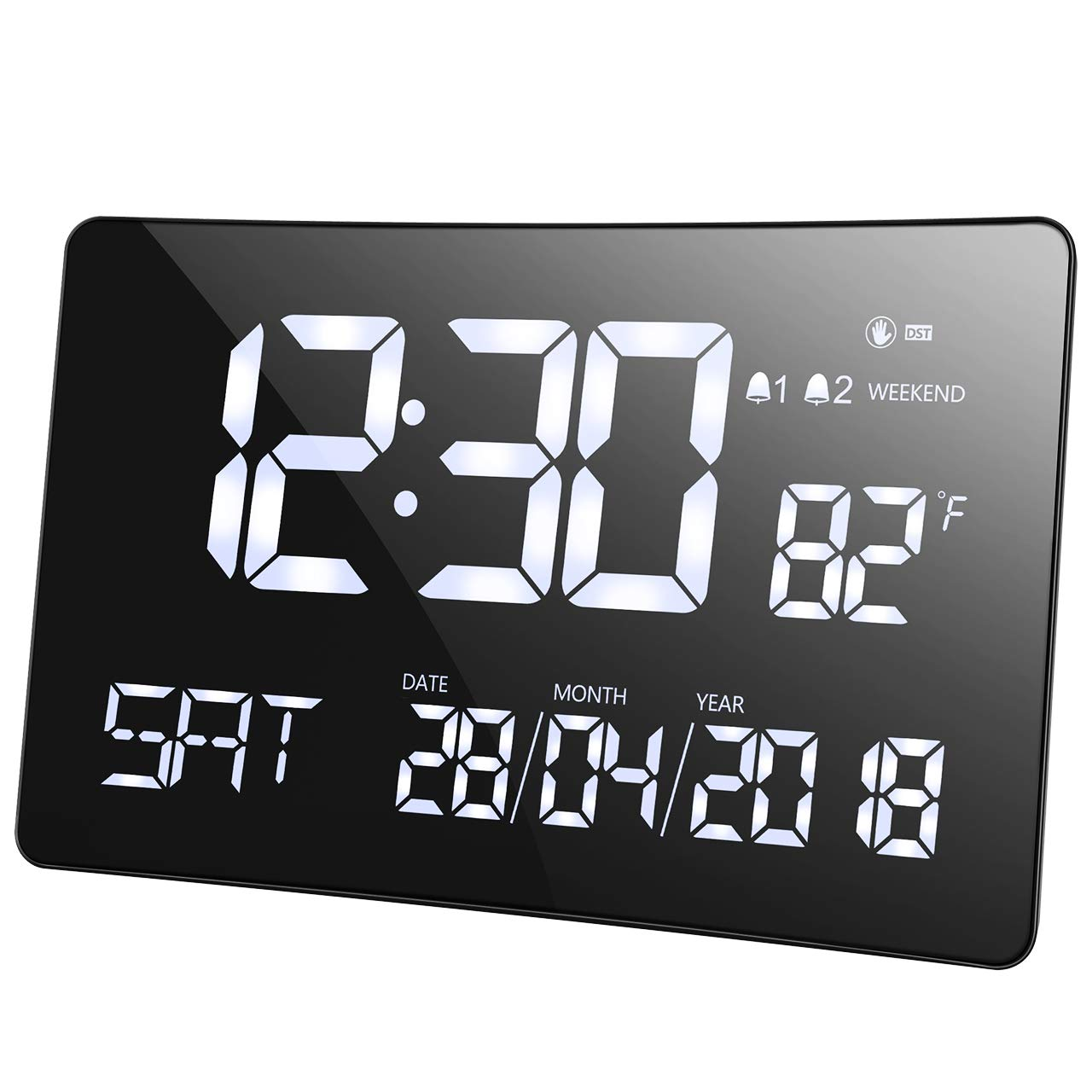 Alarm Clock, Mpow Digital Alarm Clock, 11'' Large Curved-Screen Clock, Light-Sensor, Dual-Alarm, Multifunctional Clock with Date, Day of Week, Indoor Temperature, for Home, Office,Adult, Elderly