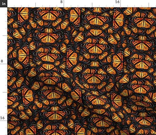 Spoonflower Orange Monarch Wings Fabric - Orange Monarch Butterfly Wing Orange Summer Bug Abstract by Bonnie Phantasm Printed on Satin Fabric by The Yard