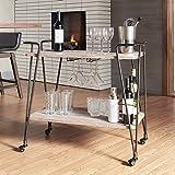 Metropolitan Dark Bronze Industrial Metal Mobile Bar Cart with Wood Shelves