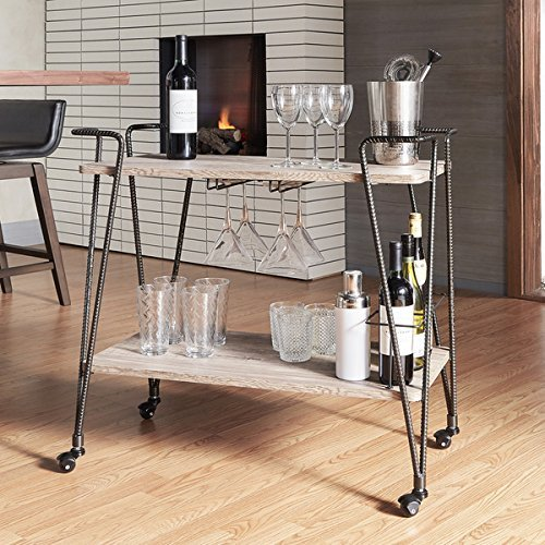 Metropolitan Dark Bronze Industrial Metal Mobile Bar Cart with Wood Shelves
