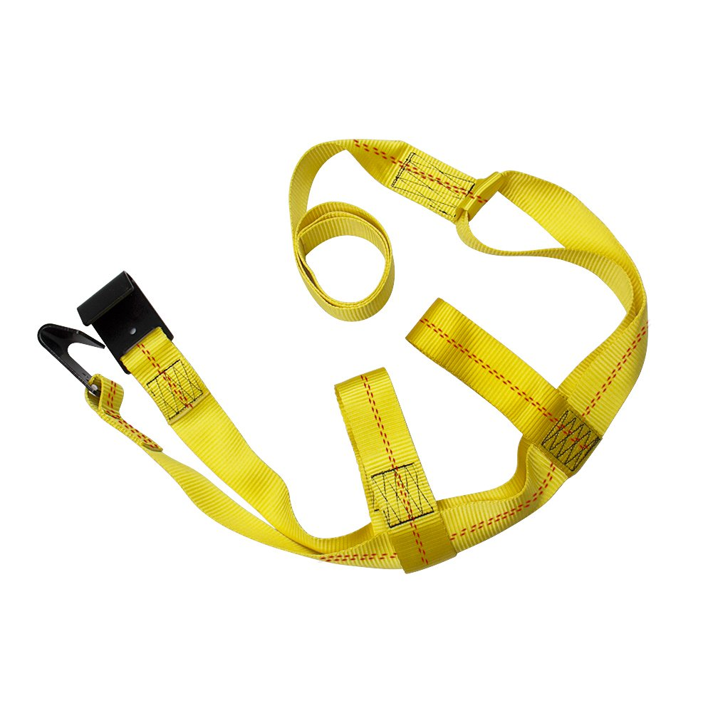 Bang4buck 2 Pieces Universal Adjustable Bonnet Tie Down System Wheel Straps for Demco Kar Kaddy Dollys with 2 Flat Hooks (Yellow-Rachet Strap) by Bang4buck (Image #5)