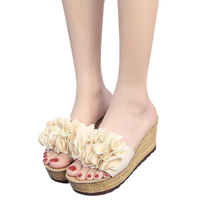 532fbc4b2 BSGSH Women's Casual Flower Slip-on Espadrille Platform Wedge Slides Sandals  for Beach Holiday (