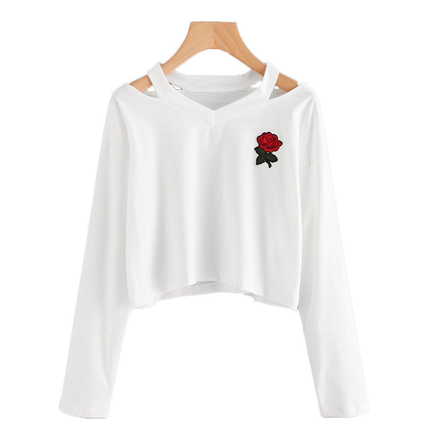 FJ-Direct Women Sweatshirt Harajuku Long Sleeve Black Rose Long Sleeve Jumpers at Amazon Womens Clothing store: