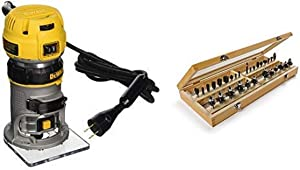 DEWALT DWP611 1.25 HP Max Torque Variable Speed Compact Router with Dual LEDs with 1901049 Marples Master Router Bit Set (30 Piece)