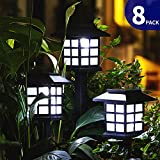 FC-Fancier Solar Lights for Outdoor Garden Led Light Landscape / Pathway Lights, Bright White, Waterproof-8 Pack