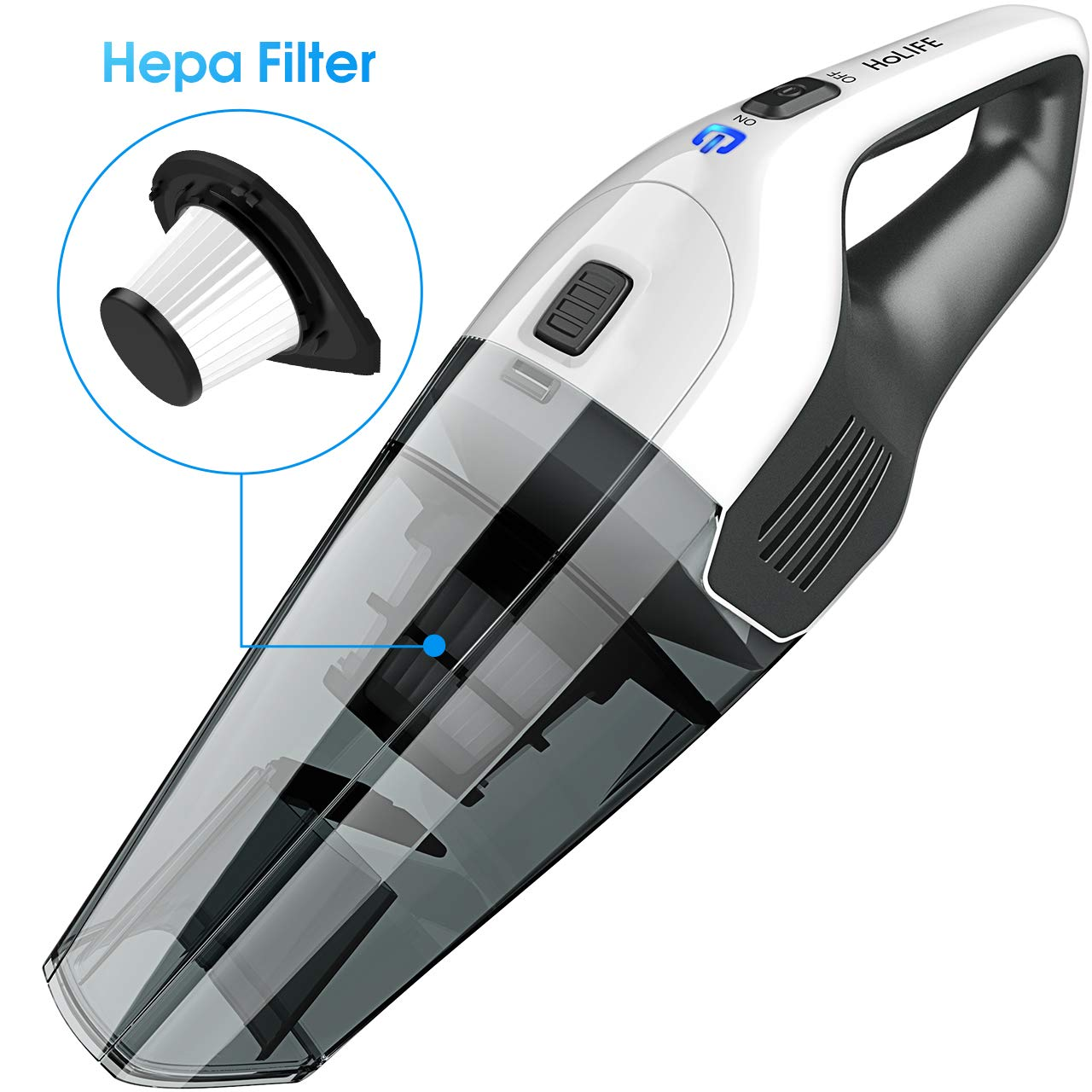 Holife 036BWUS Handheld 4KPA Portable Car Vacuum Cleaner Lightweight Hand Vac with Rechargeable 2200mAh Lithium Battery, Black