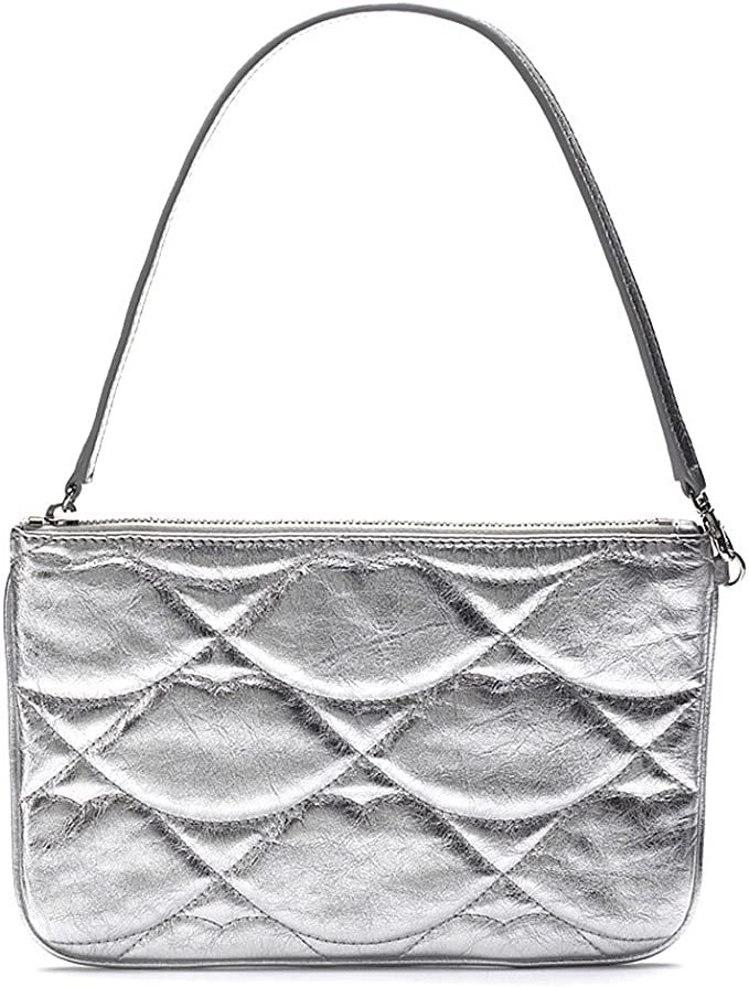 Lulu Guinness Silver Quilted Lips Small Audra Women's Bag