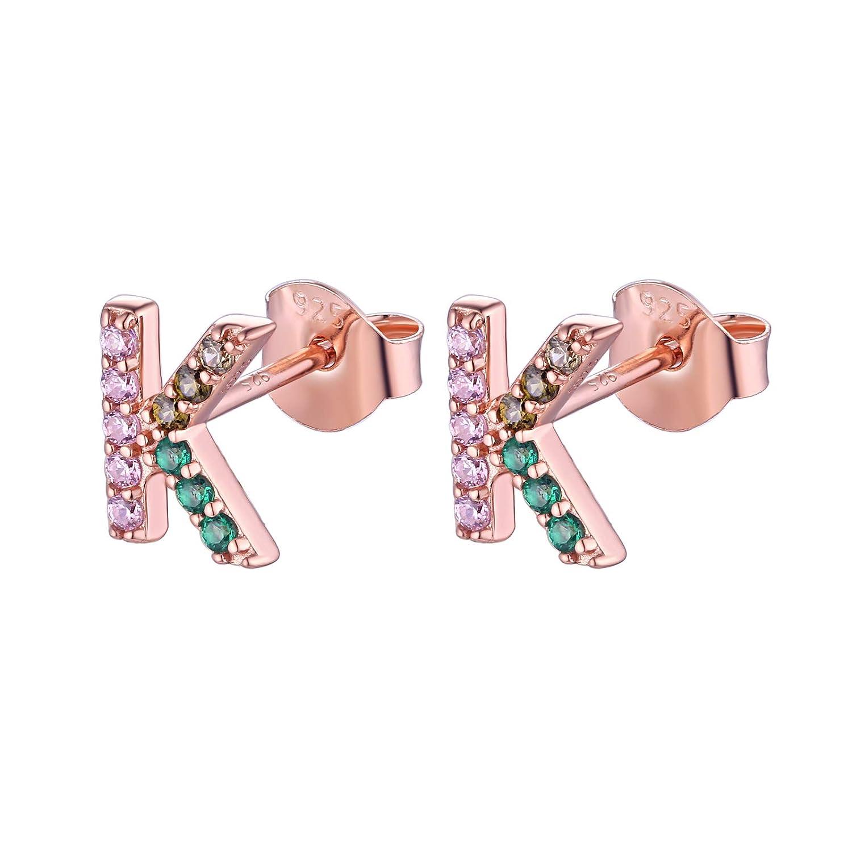 Wuziwen Rose Gold Plated Sterling Silver K-shape Stud Earrings Colorful Cz Initial Alphabet Letter