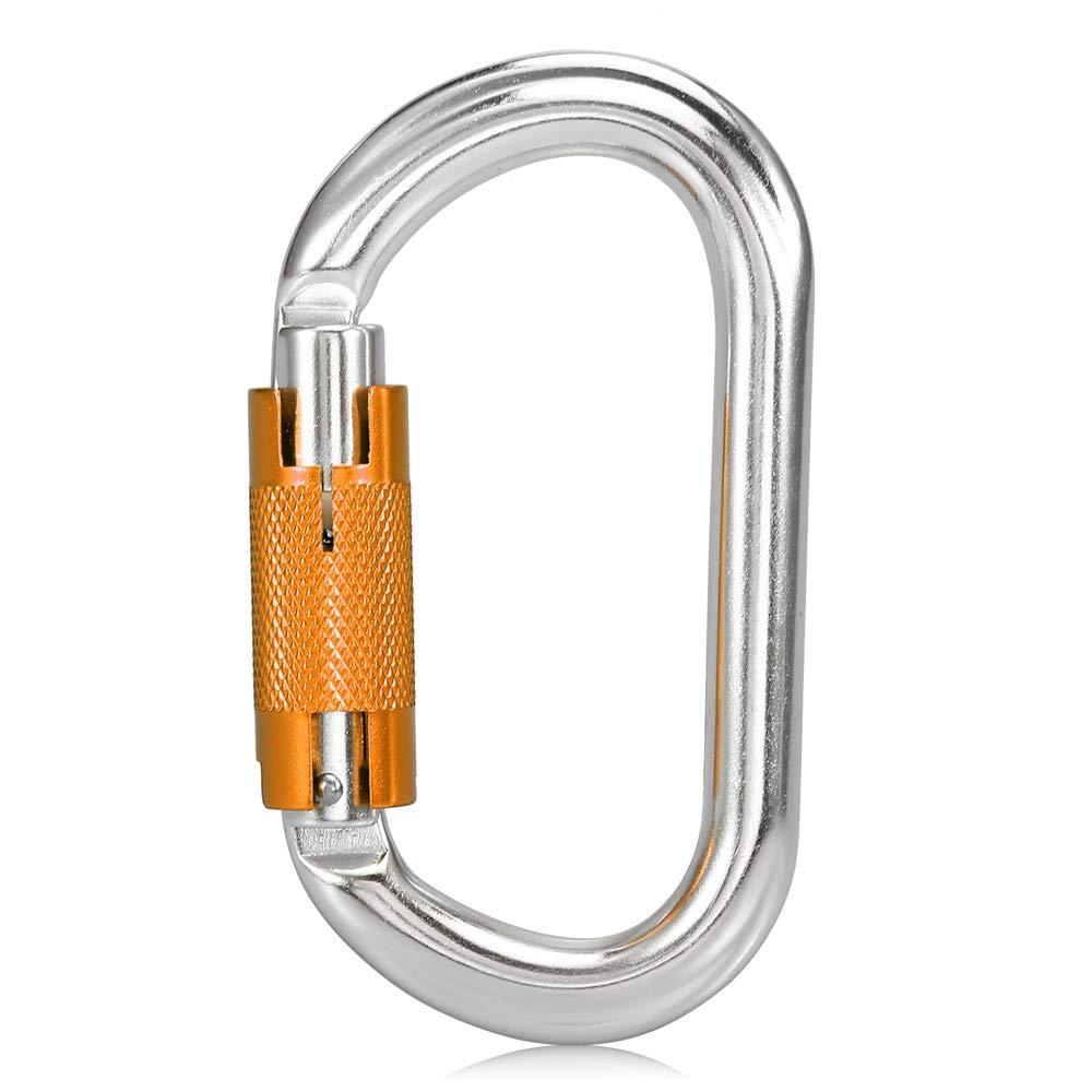 Goliraya Moschettone con ghiera di bloccaggio 25KN Heavy Duty D Forma Fibbia D-Ring Moschettone per Arrampicata Discesa in Corda Doppia Canyoning Amaca