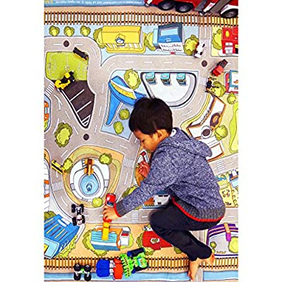 "[LEPAPA] 90.6"" x 55.1"" Baby Kids Toddler Le Bonheur Microfiber Car Village Premium Play Mat Carpet for Indoor and Outdoor Use, 3D Graphic, Interactive & Complex Play with Maps, Car & Trains, Road Trip"