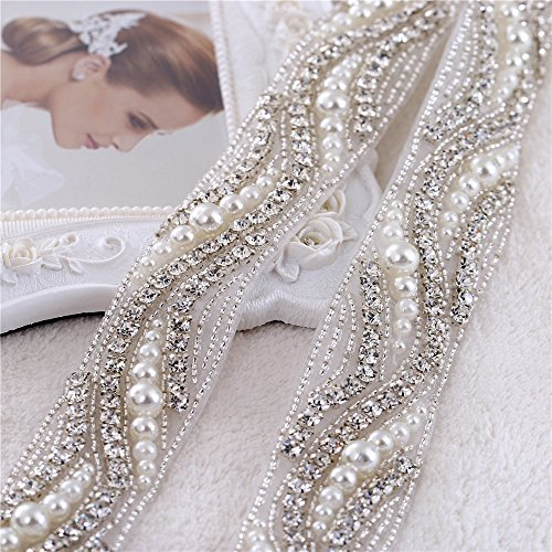"Beaded Crystal Rhinestone Applique 1 Yard of Shinning Dress with Pearls-Bridal Belts-Wedding Sash-Silver-1Piece(1.2""36""in) Beaded Ribbon"