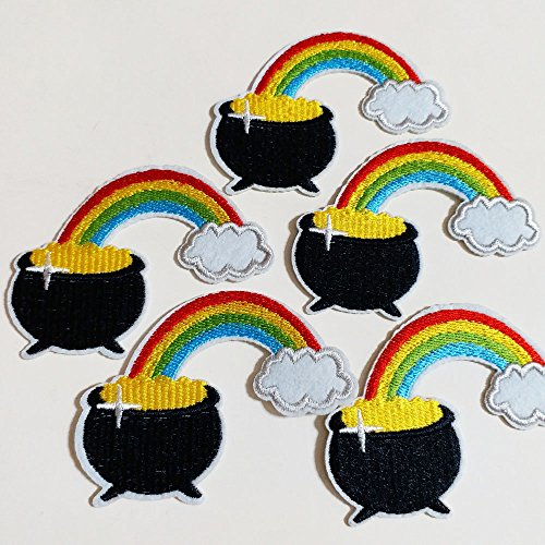 10pcs St. Patrick's Day Gold Pot Rainbow Cloud Iron On Sew On Cloth Embroidered Patches Applique Machine Embroidery Sewing Craft (Pot Of Gold Craft)