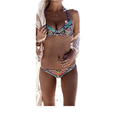 f41007fde08 Amazon.com: Exquisite Bohemian Bikini Two Piece Swimwear Trendy ...