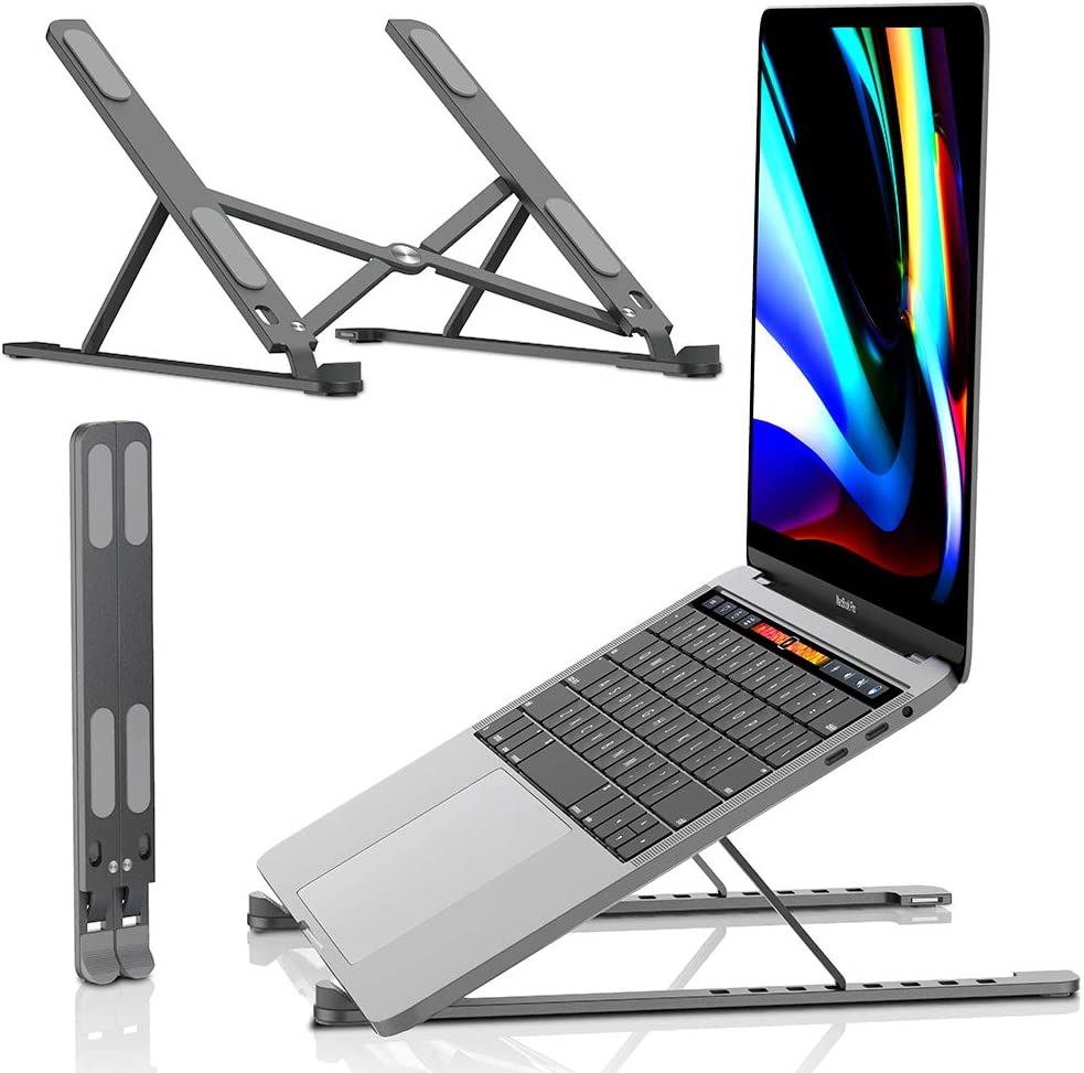 Laptop Stand - Portable Computer Stands, Aluminum Laptops Holder Riser, Ergonomic Ventilated Notebook Desk, Compatible with 10-15.6 inch MacBook Por Air, HP, Thinkpad, Dell XPS, Tablet - Space Gray