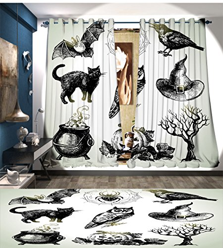 LedfordDecor Vintage Halloween Window Curtain Fabric Halloween Related Pictures Drawn by Hand Raven Owl Spider Black Cat Drapes For Living Room Black (Halloween Black Cat Photos)