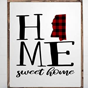 DONL9BAUER Mississippi Home Sweet Home Framed Wooden Sign,Buffalo Plaid Print Wood Wall Decor Sign, Farmhouse Wooden Plaque Art for Home,Gardens, Porch, Gallery Wall, Coffee Shops.