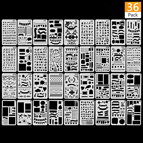 (36PCS Plastic Stencil Journal Stencil Planner Stencils Drawing Template Set for Journal Notebook Diary Scrapbooks DIY Painting Craft )