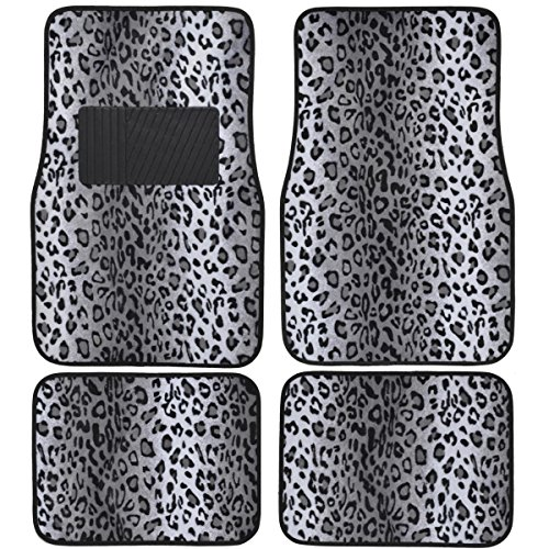 (BDK Carpeted 4 Piece Mat Leopard Animal Print Auto Car Vehicle Universal Fit (Gray))