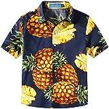 SSLR Big Boy's Pineapple Button Down Short Sleeve Hawaiian Shirt (Medium(10-12), Navy)