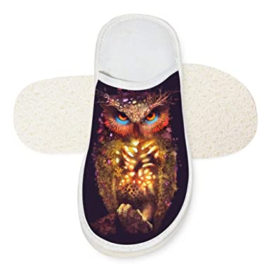 e6c9209410002 Amazon.com: Slippers Owl Art 3D Soft Winter Slippers Warm Indoor ...